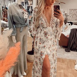 Perfect White Floral Maxi Dress/Duster